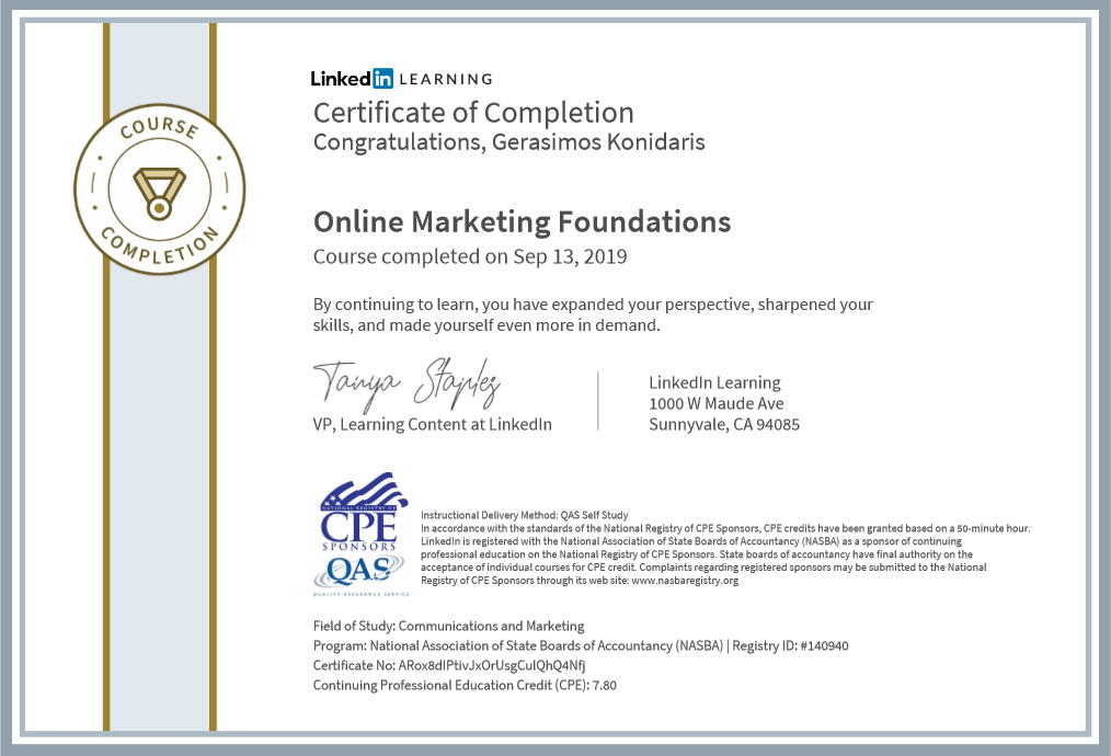 Online Marketing LinkedIn Certification